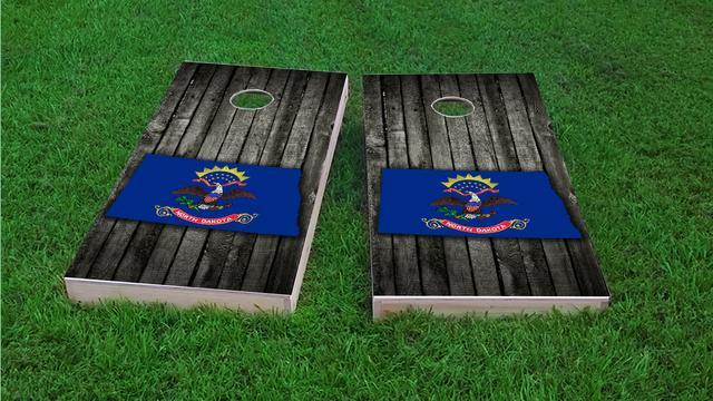 Wood Slate State Flag & Map (North Dakota) Themed Custom Cornhole Board Design
