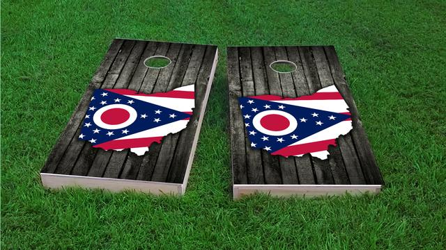 Wood Slate State Flag & Map (Ohio) Themed Custom Cornhole Board Design