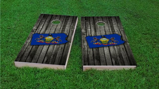 Wood Slate State Flag & Map (Pennsylvania) Themed Custom Cornhole Board Design