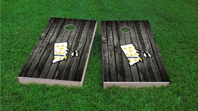 Wood Slate State Flag & Map (Rhode Island) Themed Custom Cornhole Board Design