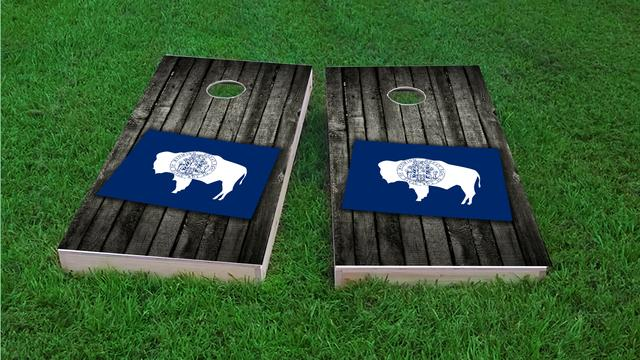 Wood Slate State Flag & Map (Wyoming) Themed Custom Cornhole Board Design