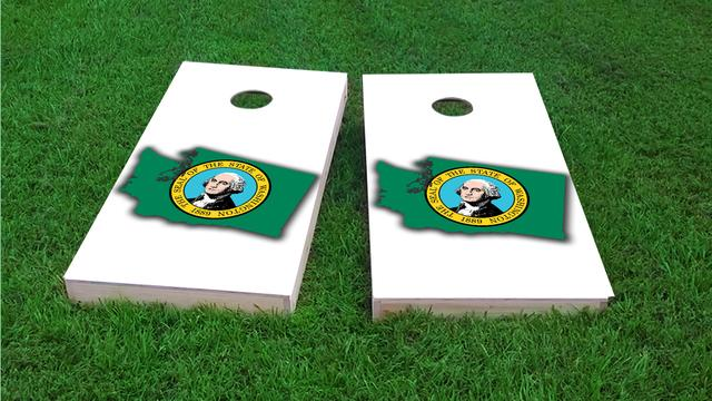 Washington State Flag Outline (White Background) Themed Custom Cornhole Board Design