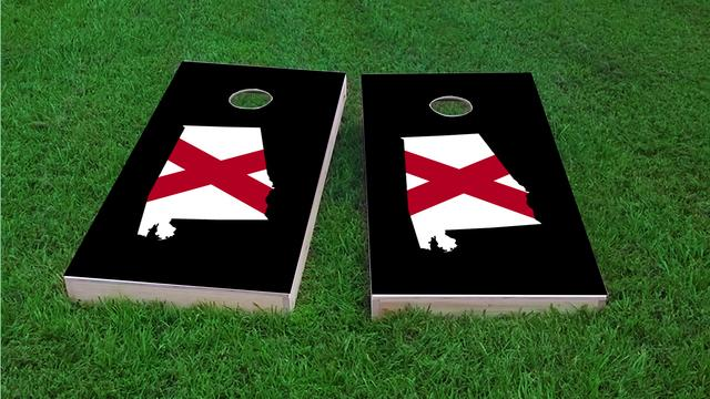 Alabama State Flag Outline (Black Background) Themed Custom Cornhole Board Design