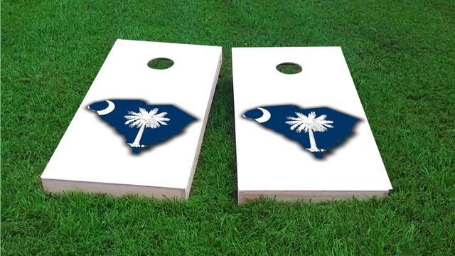 South Carolina State Flag Outline (White Background)  Themed Custom Cornhole Board Design