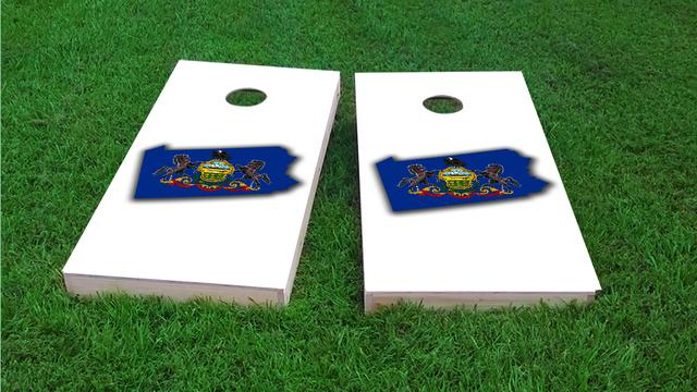 Pennsylvania State Flag Outline (White Background) Themed Custom Cornhole Board Design