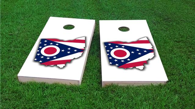 Ohio State Flag Outline (White Background) Themed Custom Cornhole Board Design