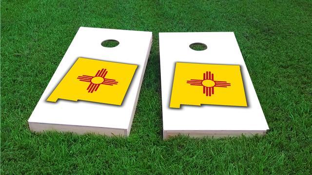 New Mexico State Flag Outline (White Background) Themed Custom Cornhole Board Design