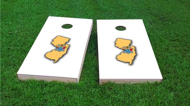 New Jersey State Flag Outline (White Background) Themed Custom Cornhole Board Design