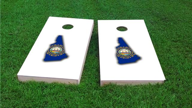 New Hampshire State Flag Outline (White Background) Themed Custom Cornhole Board Design