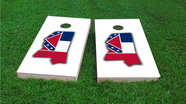 Mississippi State Flag Outline (White Background) Themed Custom Cornhole Board Design