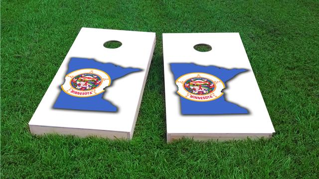 Minnesota State Flag Outline (White Background) Themed Custom Cornhole Board Design