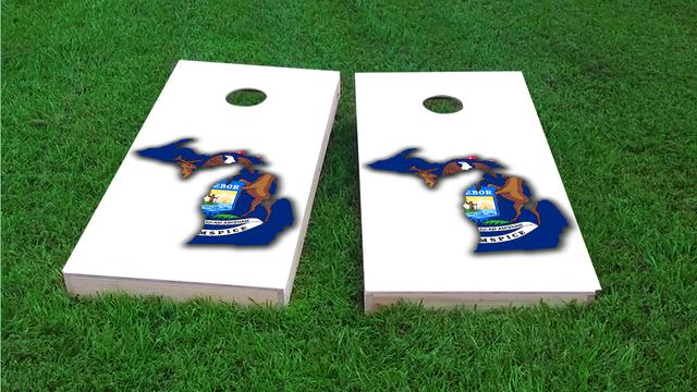 Michigan State Flag Outline (White Background) Themed Custom Cornhole Board Design