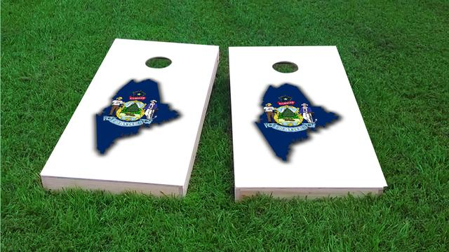 Maine State Flag Outline (White Background) Themed Custom Cornhole Board Design