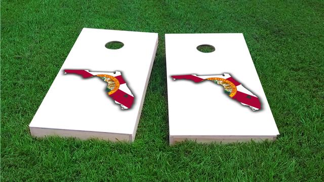 Florida State Flag Outline (White Background) Themed Custom Cornhole Board Design