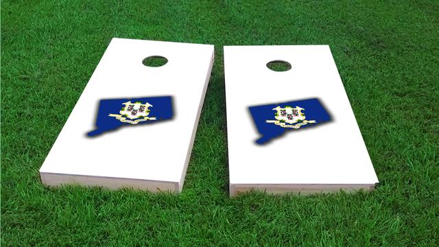 Connecticut State Flag Outline (White Background) Themed Custom Cornhole Board Design
