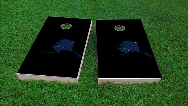 Alaska State Flag Outline (Black Background) Themed Custom Cornhole Board Design