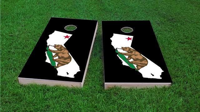California State Flag Outline (Black Background)  Themed Custom Cornhole Board Design
