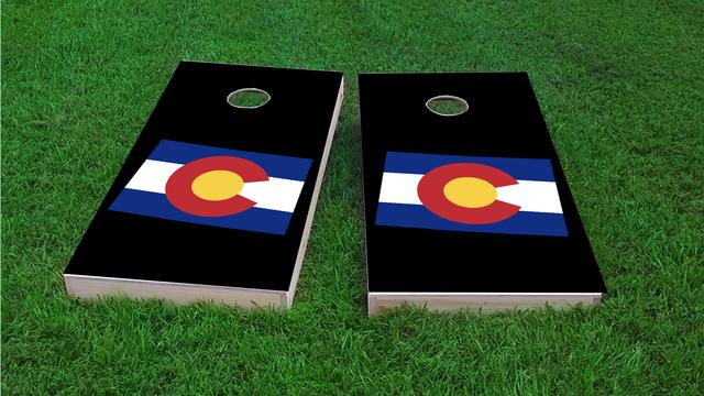 Colorado State Flag Outline (Black Background) Themed Custom Cornhole Board Design