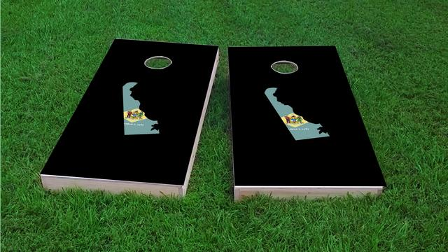 Delaware State Flag Outline (Black Background) Themed Custom Cornhole Board Design
