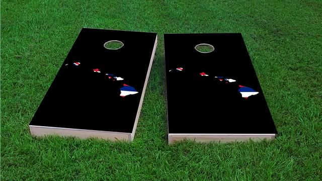 Hawaii State Flag Outline (Black Background) Themed Custom Cornhole Board Design
