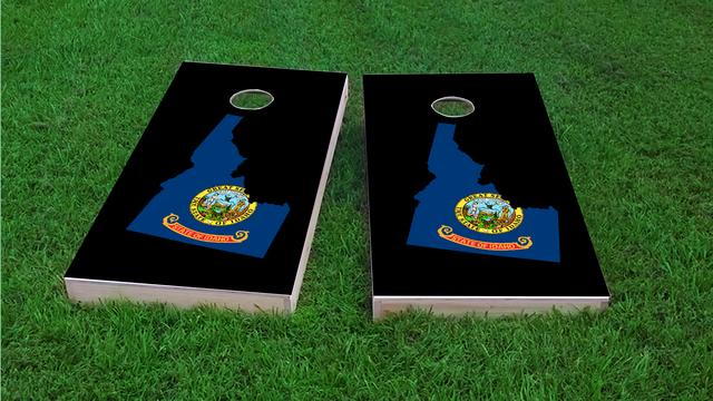 Idaho State Flag Outline (Black Background) Themed Custom Cornhole Board Design