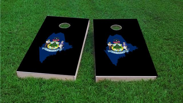 Maine State Flag Outline (Black Background) Themed Custom Cornhole Board Design