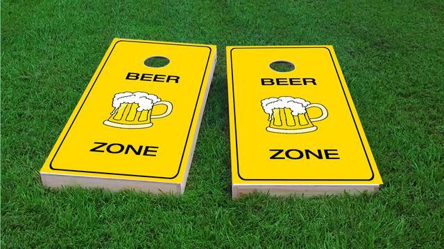 Bright Yellow Beer Zone Themed Custom Cornhole Board Design