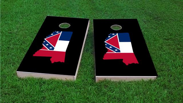 Mississippi State Flag Outline (Black Background) Themed Custom Cornhole Board Design