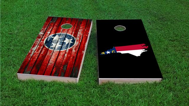 North Carolina State Flag Outline (Black Background) Themed Custom Cornhole Board Design