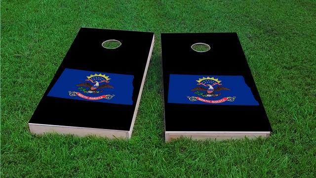 North Dakota State Flag Outline (Black Background)  Themed Custom Cornhole Board Design