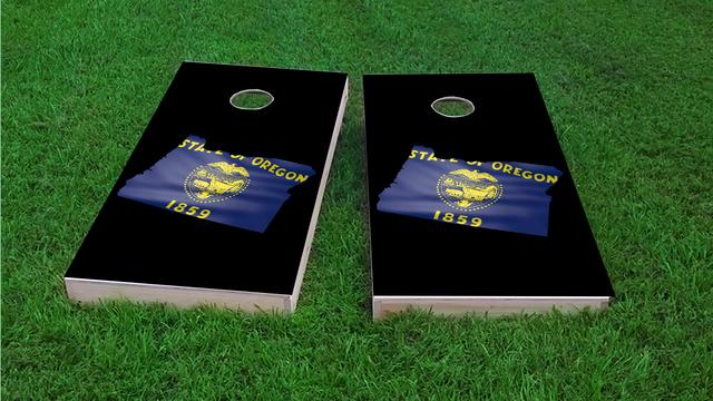 Oregon State Flag Outline (Black Background) Themed Custom Cornhole Board Design
