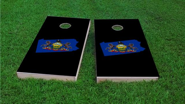 Pennsylvania State Flag Outline (Black Background) Themed Custom Cornhole Board Design