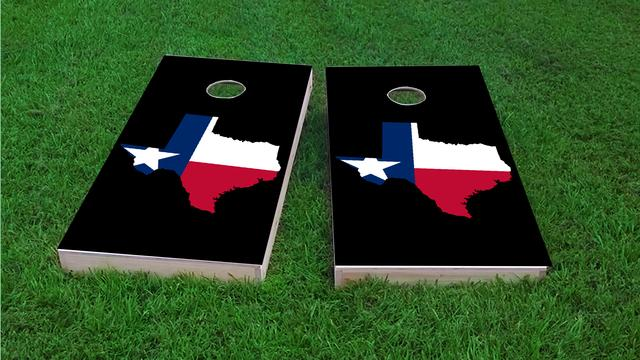 Texas State Flag Outline (Black Background) Themed Custom Cornhole Board Design