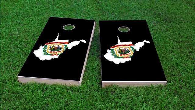 West Virginia State Flag Outline (Black Background) Themed Custom Cornhole Board Design