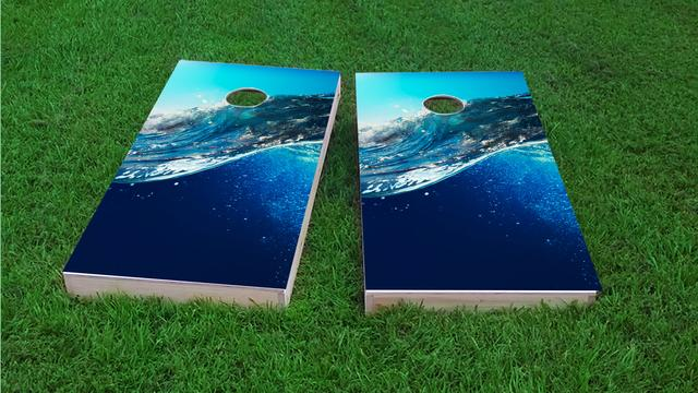 Underwater Ocean Wave Themed Custom Cornhole Board Design