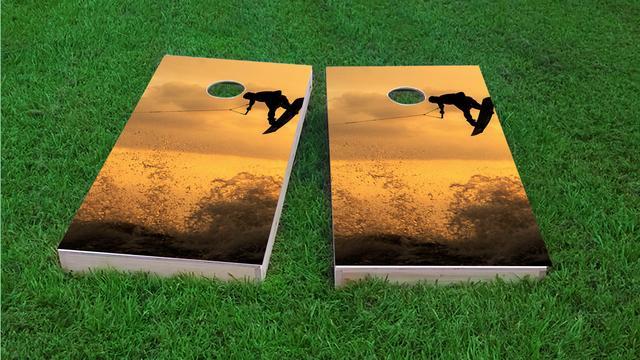 Sunset Wake boarding Themed Custom Cornhole Board Design