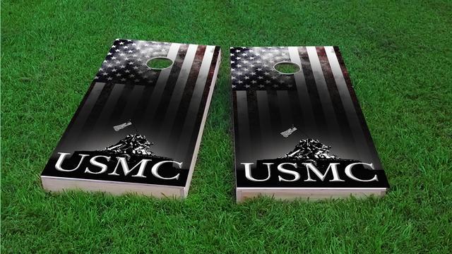 USMC Distressed American Flag Themed Custom Cornhole Board Design
