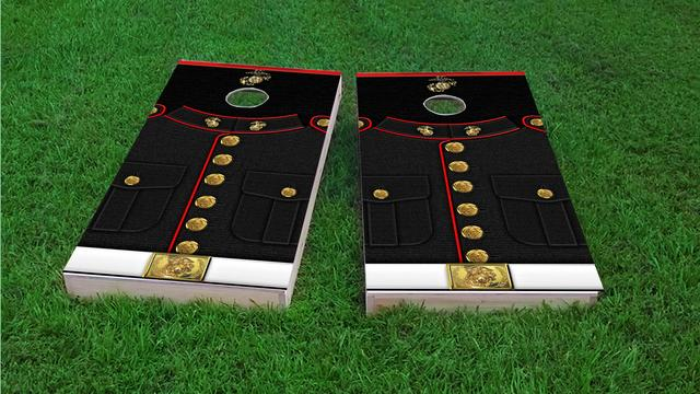 USMC Marine Dress Blues Themed Custom Cornhole Board Design