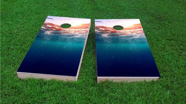 Ocean Underwater Sunset Themed Custom Cornhole Board Design