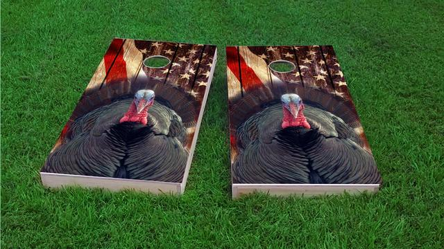 Patriotic Wood Slat with Turkey Themed Custom Cornhole Board Design