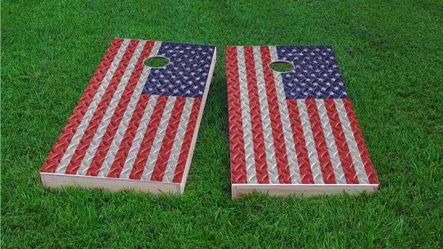 Diamond Plate American / US Flag Themed Custom Cornhole Boards Design