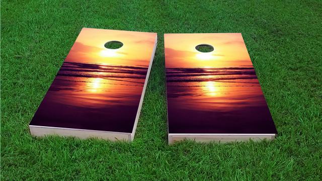 Orange Sunset On The Beach Themed Custom Cornhole Board Design