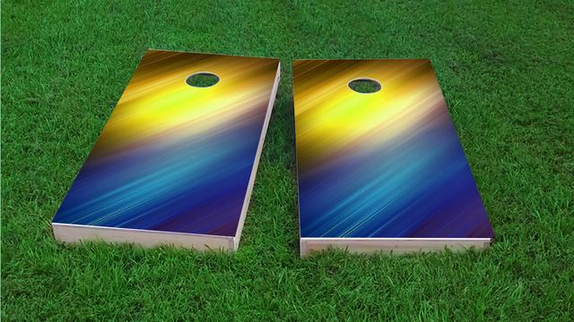 Yellow White and Blue Shine Themed Custom Cornhole Board Design