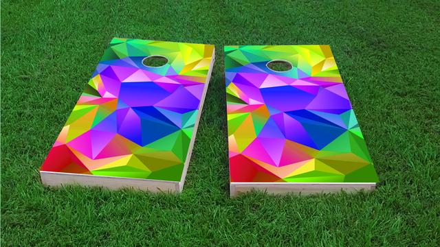 Multi Colored Prism Background Themed Custom Cornhole Board Design