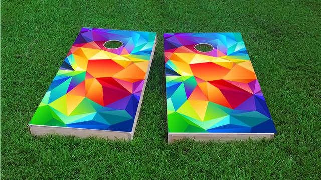 Bright Colored  Flipped Prisms Themed Custom Cornhole Board Design