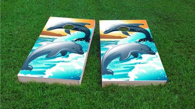 Dolphins Playing in the Oceans Waves / Surf Custom Cornhole Boards Design