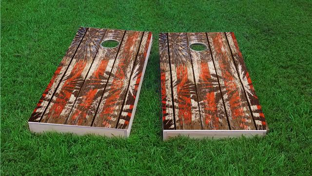 Distressed Wood Slat Patriotic Fireworks Themed Custom Cornhole Board Design