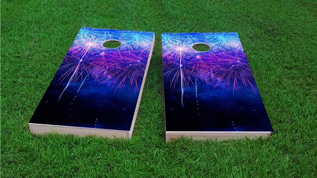 Starry Night Fireworks Show Themed Custom Cornhole Board Design