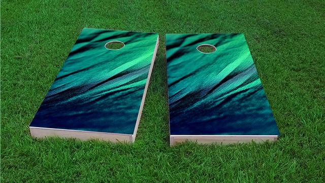 Shades of Green Fabric Themed Custom Cornhole Board Design