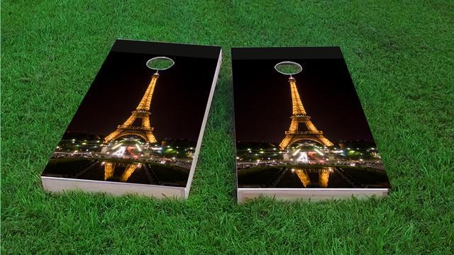 Eiffel Tower at Night in Paris France Themed Custom Cornhole Board Design